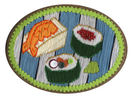 Cross-stitched Sushi, T&A Friendly