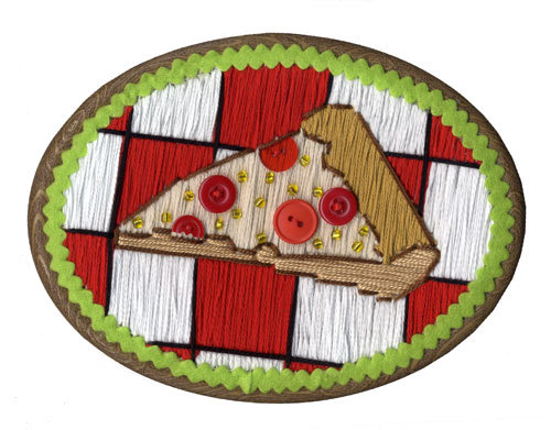 Cross-stitched Pizza, T&A Friendly