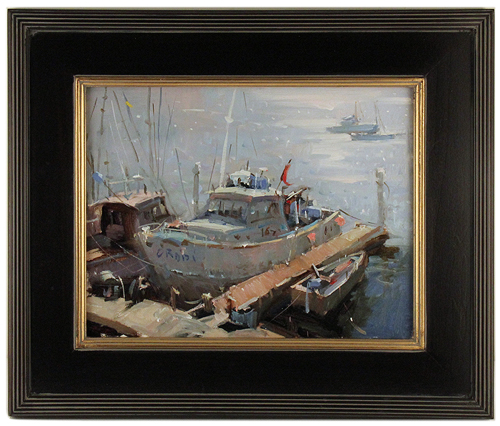 Shining at the dock - a plein air composition with light, Timothy Tien
