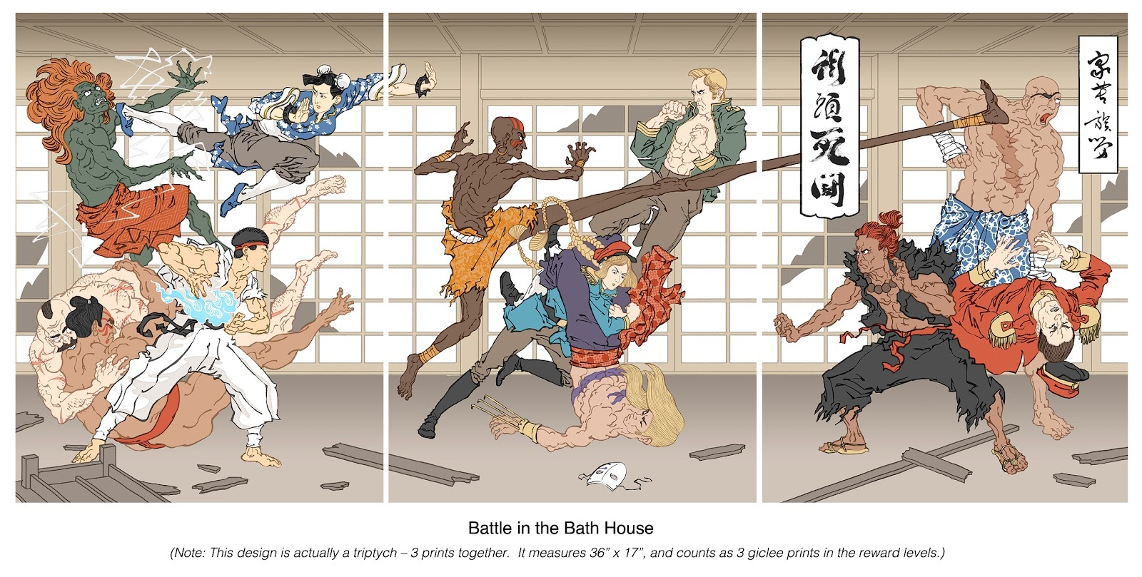 Battle in the Bath House - Print Set, Jed Henry