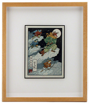 (framed woodblock print) Fox Moon , Jed Henry
