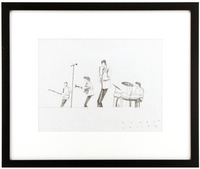 Beatles playing on stage from knees up with tall microphone(Beatles Rock Band pencil test drawing), Robert Valley
