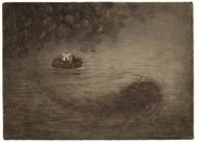 Hedgehog in a River with Fish (unframed), Roman  Tabakh