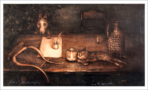 Tale of Tales - Little Wolf Table with Cat (unframed), Roman  Tabakh