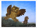 Hedgehog & Creeping Owl (unframed), Roman  Tabakh