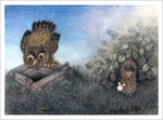 Hedgehog & Owl on a Well (unframed), Roman  Tabakh