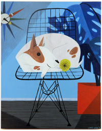 Dog on wire chair, Loris Lora