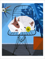 Dog on Wire Chair - print, Loris Lora