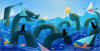 Monster & Son (Sea Serpents) print, Joey Chou