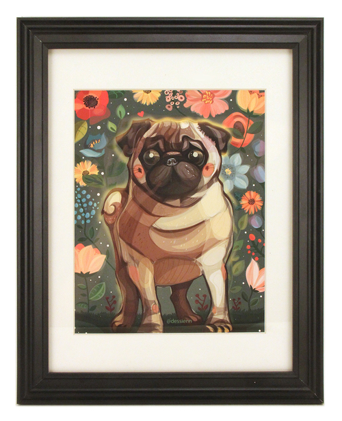 Pug and Flowers, dessienn