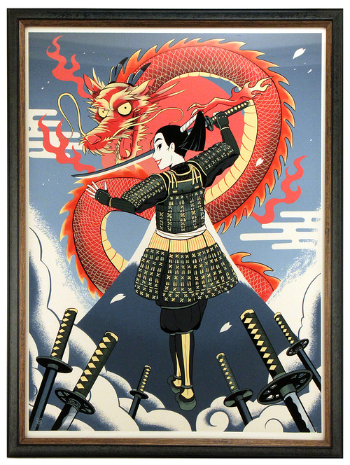 CYCLOPS PRINT WORKS: Mulan, Samurai Style (silkscreen) FRAMED #1 by HACKTO, Cyclops Print Works / Disney Fine Art