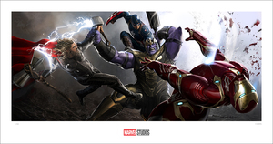 (Avengers: Endgame) Iron Man, Captain America, Thor vs Thanos (print), Ryan Meinerding