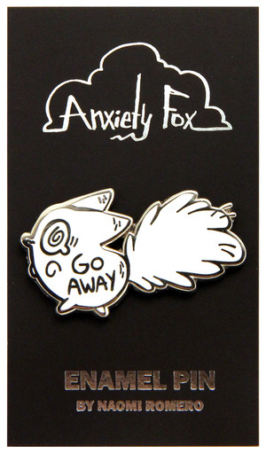 Go Away - Anxiety Fox Enamel Pin, Naomi Romero